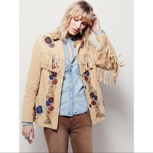Free People Sydney fringe suede jacket sz xs nwt